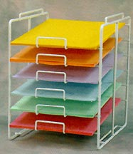 "Scrapbook paper rack for 12 x 12"" paper sheets"